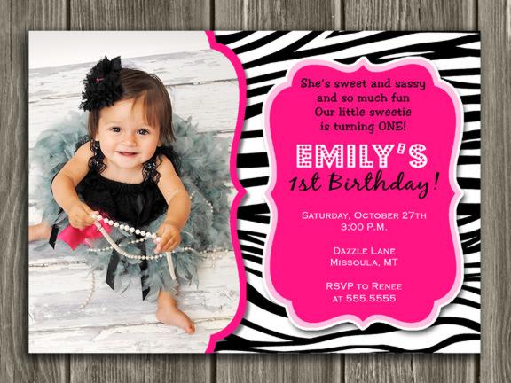 Zebra Birthday Invitation - Thank You Card Included