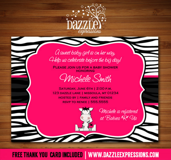 Zebra Baby Shower Invitation - FREE thank you card included