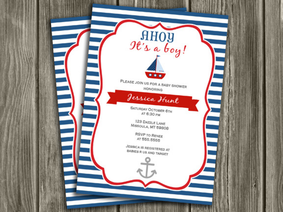 Sailboat Baby Shower Invitation Free Thank You Card Included