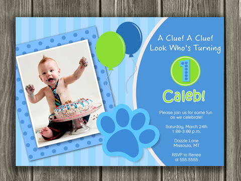 Blue Puppy Birthday Invitation 1 - Thank You Card Included