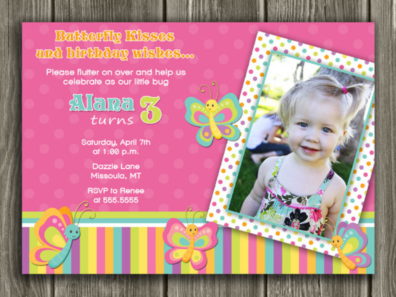 Printable butterfly birthday photo invitation girl first butterfly birthday invitation 3 thank you card included stopboris Images
