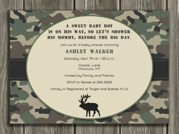 Hunting Baby Shower Invitation - Camo - Thank You Card Included