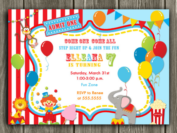 CircusCarnival First Birthday Photo Invitation Printable Thank - Birthday invitation cards circus