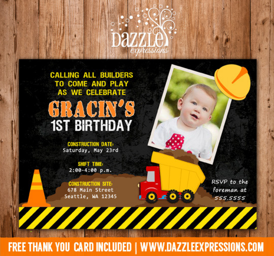 Construction Birthday Invitation 2 - Thank You Card Included