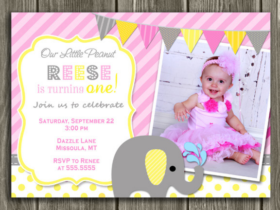 Elephant Birthday Invitation 2 - Pink and Yellow - Thank You Card Included
