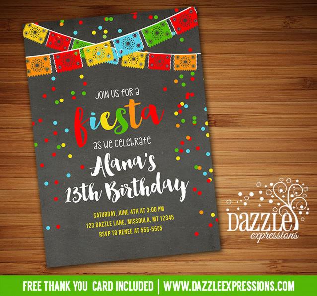Printable fiesta chalkboard birthday invitation taco party fiesta chalkboard invitation 3 free thank you card include filmwisefo