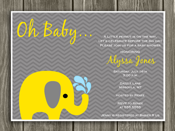 printable yellow and gray elephant baby shower invitation, Baby shower invitation
