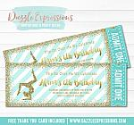Gymnastics Glitter Ticket Invitation 2 - FREE thank you card