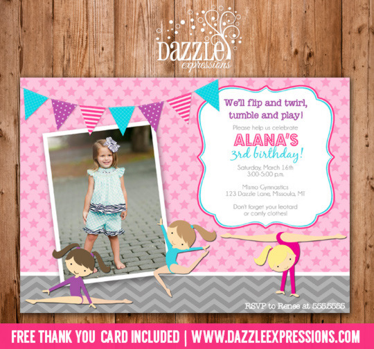 Gymnastics Birthday Invitation - Thank You Card Included