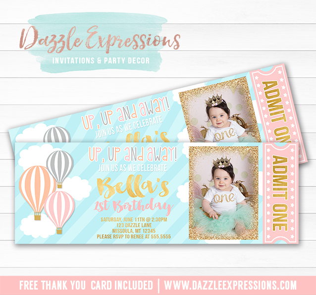 Hot Air Balloon Ticket Invitation 1 - FREE thank you card included