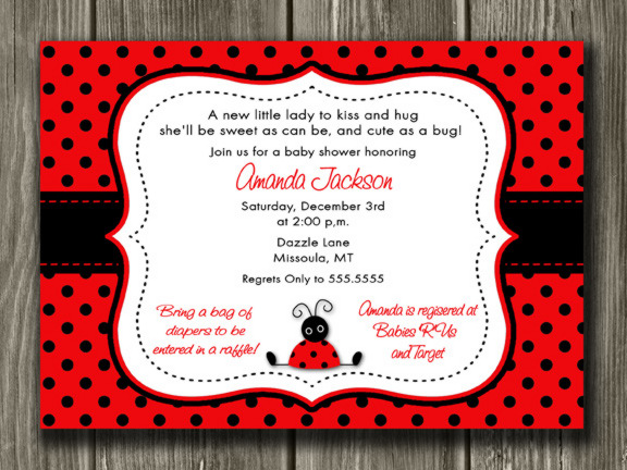 Ladybug Baby Shower Invitation - Printable
