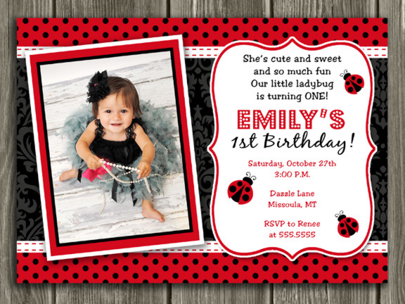 Printable Ladybug Birthday Photo Invitation Girl Bug Party – Ladybug Birthday Cards