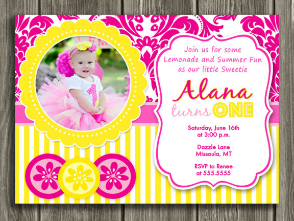 Pink Lemonade Invitation 2 - Thank you card included