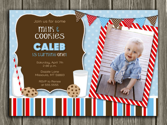 Milk and Cookies Birthday Invitation - Blue - Thank You Card Included