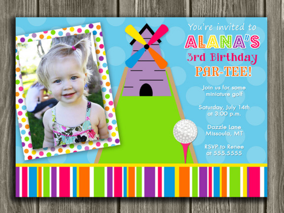 Printable kids miniature golf birthday photo invitation mini golf mini golf birthday invitation girl thank you card included filmwisefo