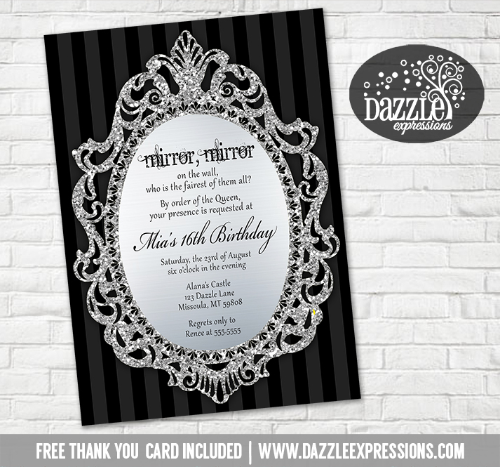 Printable queen mirror mirror on the wall birthday invitation glitter mirror birthday invitation free thank you card included filmwisefo