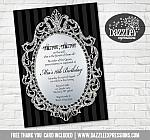 Glitter Mirror Birthday Invitation - FREE thank you card included