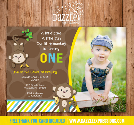 Printable mod monkey birthday photo invitation boy first birthday monkey birthday invitation 1 free thank you card filmwisefo Image collections