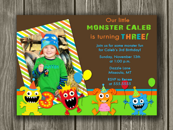 Monster Birthday Invitation 4 - Thank You Card Included