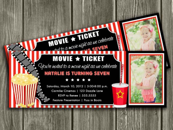 printable movie ticket birthday invitation - movie night - movie,
