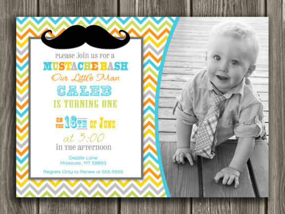 Mustache Invitation 2 - Thank You Card Included