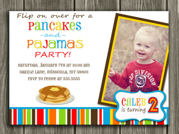 Pancake and Pajamas Birthday Invitation 3 - Thank You Card Included