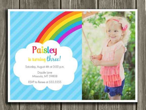 Rainbow Birthday Invitation 1 - Thank You Card Included