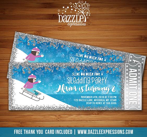 Printable Sledding Party Glitter Ticket Birthday Invitation Girls