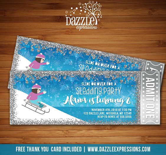 Sledding Party Glitter Ticket Invitation - FREE thank you card