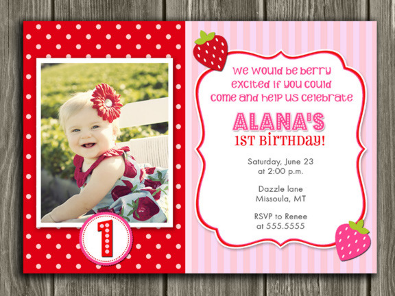 Strawberry Invitation 2 - Thank You Card Included