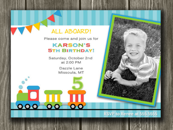 Train Birthday Invitation 3 - FREE thank you card included