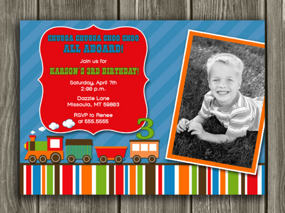 Train Birthday Invitation 2 - FREE thank you card included