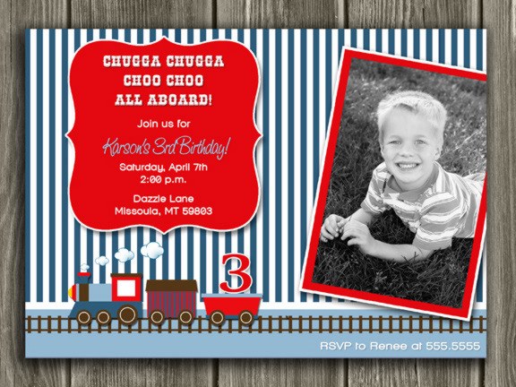 Train Birthday Invitation 1 - FREE thank you card included