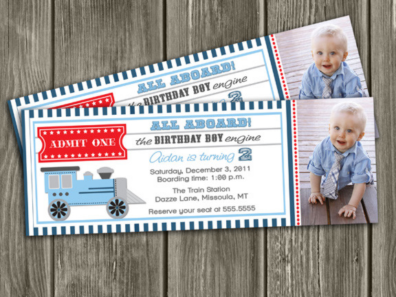 Train Ticket Invitation 6 - Thank You Card Included