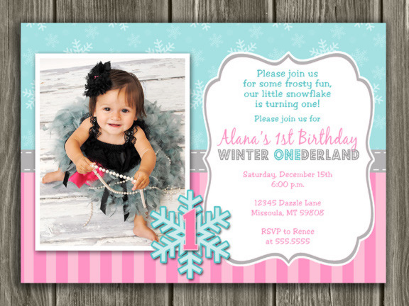 Winter Snowflake Birthday Invitation 1 - FREE thank you card included